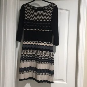 Nine West black/cream/blue stripe sweater dress